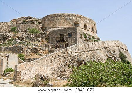 Ruin Medieval Fort Spinalonga Kalydon Island Crete Greece