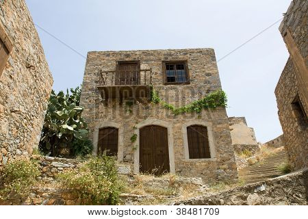 Picturesque Old Double-decker Abandoned Lopsided Rustic Stone House