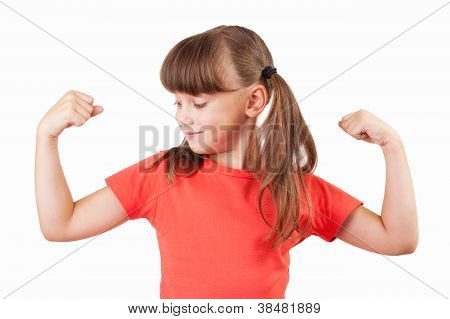 Cute little girl shows us their biceps poster