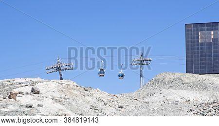 Zermatt, Switzerland - July 19, 2020: Tourists On Matterhorn Express Cable Car Waiting For Traffic T