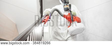 Worker Specialist In White Hazmat Suits Cleaning Disinfecting Cells Coronavirus Epidemic, Clear Viru