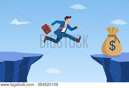 Businessman Jump Through The Gap To Get Bag Full Of Money. An Employee With A Running Jump From One