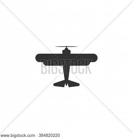 Retro Airplane Or Aeroplane Icon. Flat Old Vintage Aircraft Isolated On White Background.