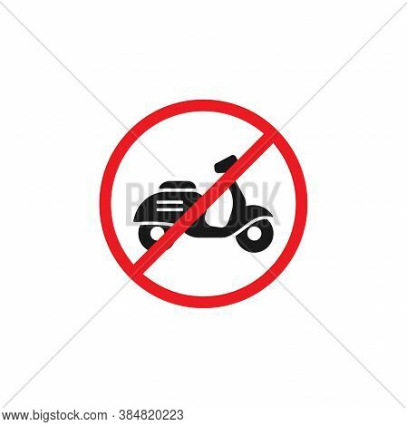 Retro Scooter Or Motorbike In Red Crossed Circle Icon. No Scooters Sign Isolated On White.