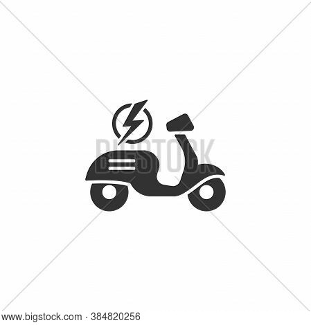 Black Retro Scooter Or Motorbike With Lightning Bolt Icon. Flat Scooter Isolated On White.