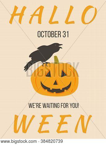 Halloween Party Greeting Card, Flyer, Banner, Poster Templates. Black Crow Bird On Pumpkin. All Sain