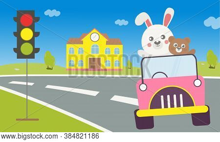 Cartoon white rabbit driving on the road from school through traffic lights With a brown bear sitting beside. on school background.vector cute cartoon illustration. Fun travel with cute animals cartoon .Cute bunny and bear.