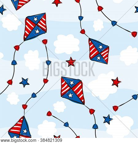 Seamless Kids Pattern For Independence Day Usa. Background Of Hand-drawn Elements For July 4th In Th