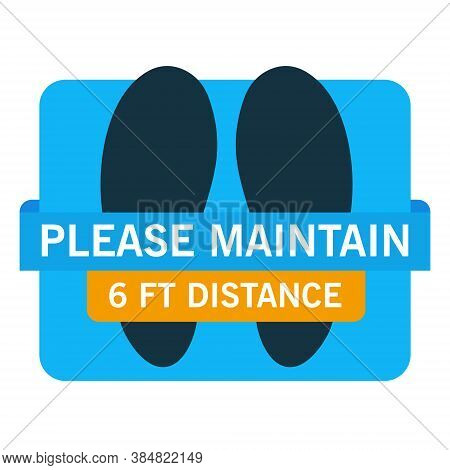 Social Distancing. Please Maintain 6 Feet Distance. Stylish Abstract With A Sticker Floor With Footp