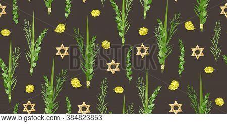 Traditional Jewish Holiday Sukkot Seamless Pattern. Jewish Torah Lulav Date Palm, Etrog Citron, Arav