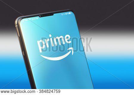Kyiv, Ukraine-june, 2020: Amazon Prime Mobile Application On The Smartphone Screen. Close Up Studio