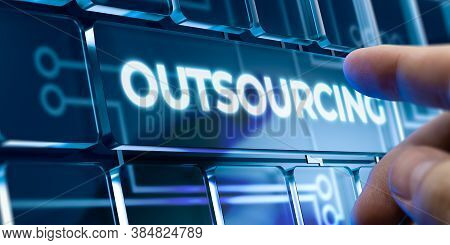 Man Using A Outsourcing System By Pressing A Button On Futuristic Interface. Business Concept
