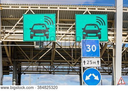 Automatic Point Of Payment On A Toll Road. Turnpike.area Pay Tolls On The Toll Road.urban Highway.sp