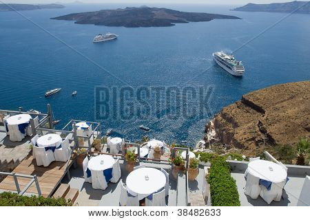 View On Volcanic Caldera From Terrace Fira, Santorini Island, Greece