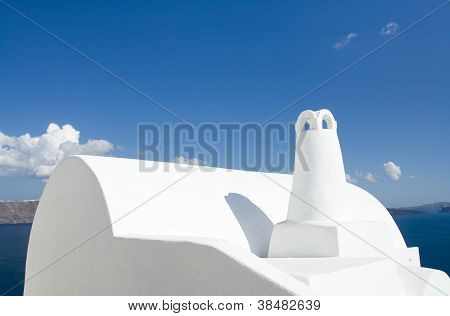 Traditional White Greek Roof, Chimney In Oia Santorini Island Greece