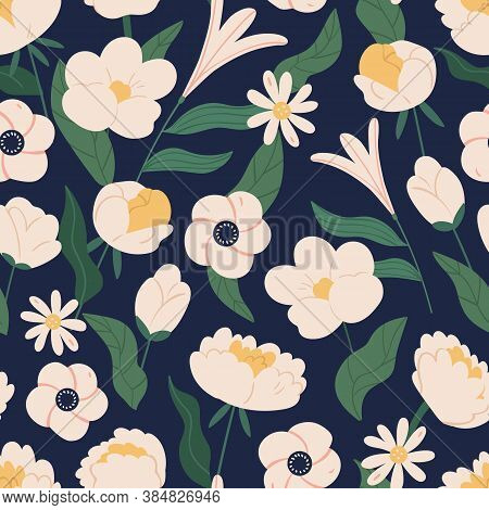 Elegant Flowers With Branches Seamless Pattern. Romantic Blooming Plants With Leaves And Stem Seamle