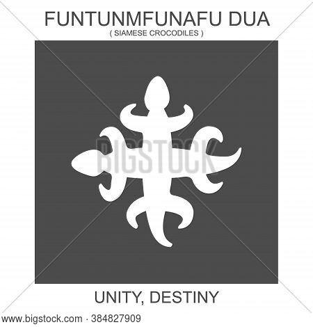 Vector Icon With African Adinkra Symbol Funtunmfunafu Dua. Symbol Of Unity And Destiny