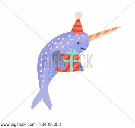 Festive Cartoon Narwhal With Gift Box Tied By Ribbon Vector Flat Illustration. Celebratory Cute Sea