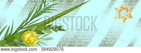 Traditional Jewish Holiday Sukkot Pattern With Torah Lulav Date Palm, Etrog Citron, Arava Willow And