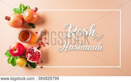 Rosh Hashanah (jewish New Year Holiday), Concept Of Traditional Or Religion Symbols On Pastel Orange