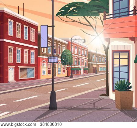 Street Of Town Vector Cartoon Illustration Of The Historic Urban Area With Trees And Streetlight. Ci