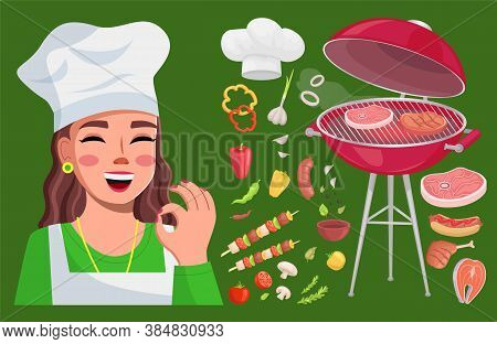 Grill Bbq Food Collection, Cook Woman Show Okay Gesture, Good Delicious Yummy Meal, Sorts Of Meat, C