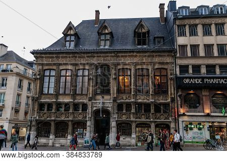 The Rouen Normandy Tourism & Congress On The Streets Of The Old Town Of Rouen With Traditional Half-