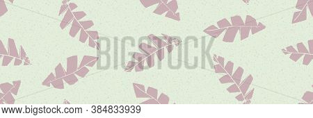 Mono Print Style Scattered Leaves Seamless Vector Border Background. Pastel Banner Of Textured Cut O