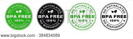 Bpa Free Vector Certificate Icon. No Phthalates And No Bisphenol, Safe Food Package Stamp, Check Mar