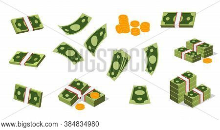 Large Set Of Dollar Icons For Financial Concepts With Single Banknotes, Wads And Bundles Of Bills An
