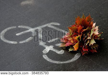 Bunch Of Colourful Red And Yellow Maple Leaves On The Cycling Sign Background. Autumn Coming Concept