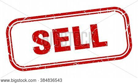 Sell Stamp. Sell Square Grunge Red Sign