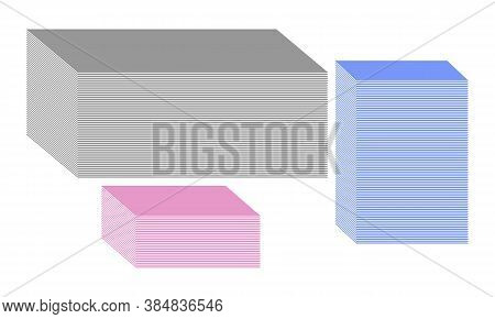 Three Colored Piles Of Paper Sheets Of Different Sizes And Heights. Simple Vector Templates For Gray