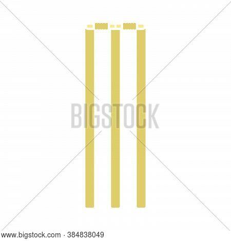 Cricket Wicket Icon. Flat Color Design. Vector Illustration.