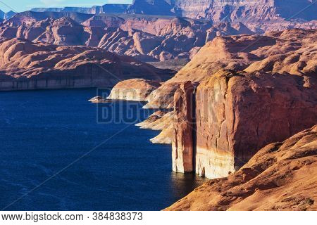 Unusual landscapes in Powell lake, USA. Travel background.