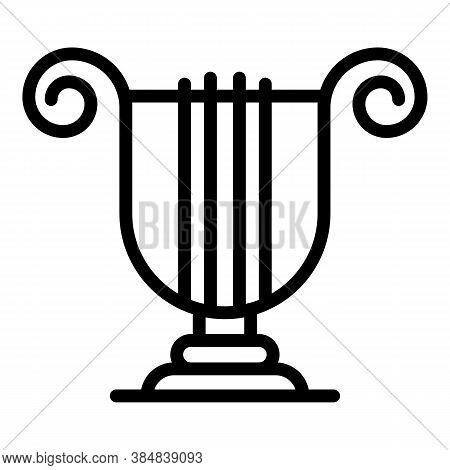 Greek Ancient Harp Icon. Outline Greek Ancient Harp Vector Icon For Web Design Isolated On White Bac