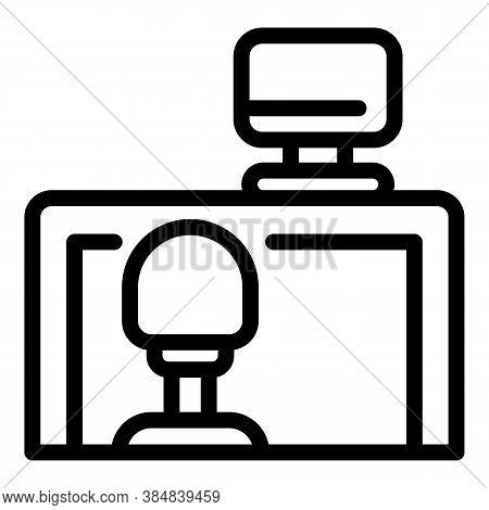 Quiet Spaces Desktop Computer Icon. Outline Quiet Spaces Desktop Computer Vector Icon For Web Design