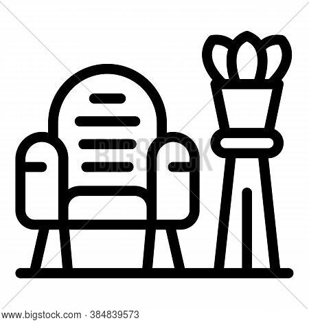 Quiet Spaces Armchair Icon. Outline Quiet Spaces Armchair Vector Icon For Web Design Isolated On Whi