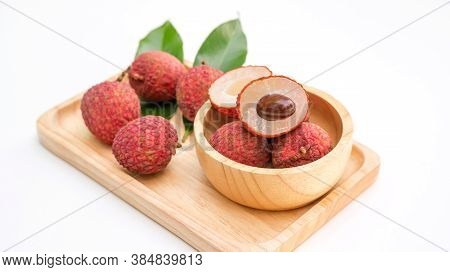 Red Litchi And Green Leaf On A White Background.