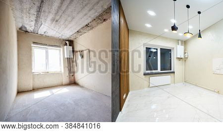 Comparison Snapshot Of A Big Beautiful Room In A Private House Before And After Reconstruction, Empt