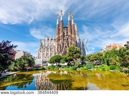 Barcelona, Spain - July 2019: Sagrada Familia Cathedral In Barcelona
