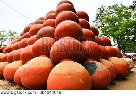 Collection Of Clay Pots Made From Mud Also Known As Matka. Clay Pots Are Used Since Ancient Times An