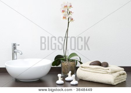 Zen Scene With Towels And Stones And Plants