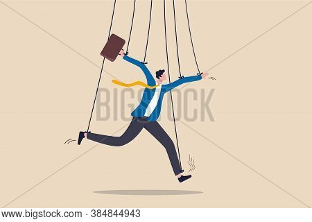 Business Management, People Manipulation Or Power To Dominate Actions Concept, Fake Businessman Pret