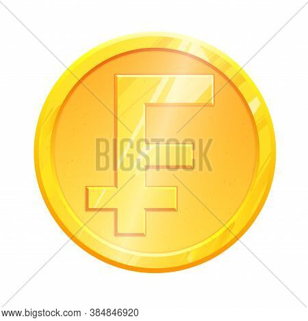 Golden Frank Coin Chf Symbol On White Background. French Finance Investment Concept. Exchange France