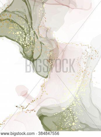 Neutral Green Watercolor Rose Gold Glitter Splatter Desgn. Alcohol Ink Screensaver Emerald Rose Tend