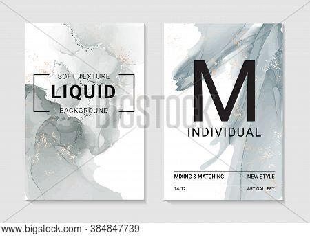 Resin Art Marble Grey Smoke Ripples Of Agate. Liquid Flow Marble Abstract Texture. Fluid Modern Art
