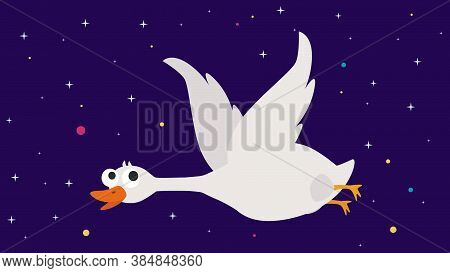 Goose Icon. Flat Illustration Of Goose Vector Icon For Web Design. The Biggest Water Bird That Can F
