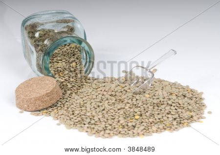 Green Lentil In Jar Isolated In White