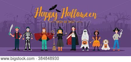 Halloween Party Background, Kids In Halloween Costumes. Vector